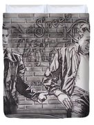 James Dean Meets The Fonz Duvet Cover by Sean Connolly