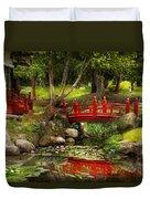 Japanese Garden - Meditation Duvet Cover by Mike Savad