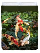 Japanese Koi Fish Pond Duvet Cover by Jennie Marie Schell