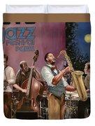 jazz festival in Paris Duvet Cover by Guido Borelli