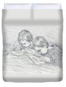 Jean Pierre Hoschede And Michel Monet Duvet Cover by Claude Monet