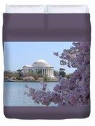 Jefferson Memorial - Cherry Blossoms Duvet Cover by Mike McGlothlen
