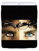 Jesus Christ - How Do You See Me Duvet Cover by Sharon Cummings