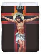Jesus On The Cross Duvet Cover by Zorina Baldescu