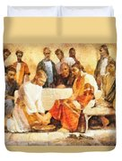 Jesus Washing Apostle's Feet Duvet Cover by Dan Sproul