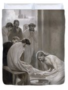 Jesus Washing The Feet Of His Disciples Duvet Cover by Albert Gustaf Aristides Edelfelt