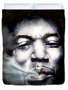 Jimi Hendrix-Burning Lights-2 Duvet Cover by Reggie Duffie