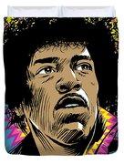 Jimi Hendrix Pop Art Duvet Cover by Jim Zahniser