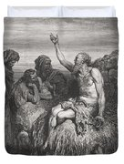 Job and his Friends Duvet Cover by Gustave Dore