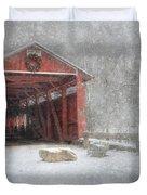 Josiah Hess Covered Bridge Duvet Cover by Lori Deiter