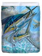 Jumping White Marlin And Flying Fish Duvet Cover by Terry Fox