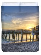 Juno Beach Pier At Dawn Duvet Cover by Debra and Dave Vanderlaan