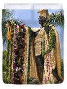Kamehameha Covered in Leis Duvet Cover by Brandon Tabiolo
