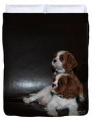King Charles Puppies Duvet Cover by Dale Powell