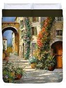 La Porta Rossa Sulla Salita Duvet Cover by Guido Borelli