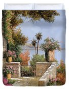 La Terrazza Un Vaso Due Palme Duvet Cover by Guido Borelli