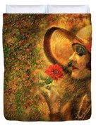 Lady In The Flower Garden Duvet Cover by Angela A Stanton