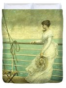 Lady On The Deck Of A Ship  Duvet Cover by French School