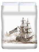 Lady Washington At Friendly Cove Sepia Duvet Cover by James Williamson