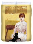 Lady With Black Kitten Duvet Cover by Giuseppe De Nittis