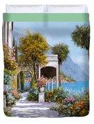 Lake Como-la passeggiata al lago Duvet Cover by Guido Borelli
