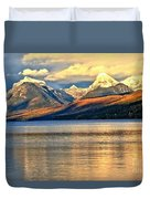 Lake Mcdonald Sunset Duvet Cover by Adam Jewell