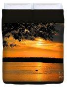 Lake Panarama Sunset Duvet Cover by Bob Hislop