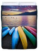 Lake Quinault Kayaks Duvet Cover by Inge Johnsson