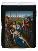 Lamentation With Saint John The Baptist And Saint Catherine Of Alexandria Duvet Cover by Master of the Legend of Saint Lucy
