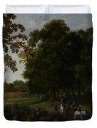 Landscape with a courtly procession before Abtspoel Castle Duvet Cover by Esaias I van de Velde