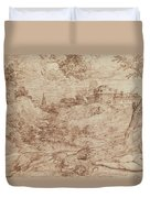 Landscape With A Dragon And A Nude Woman Sleeping Duvet Cover by Titian