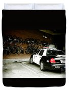 Lapd Cruiser And Police Bikes Duvet Cover by Nina Prommer