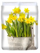 Large Bucket Of Daffodils Duvet Cover by Amanda And Christopher Elwell