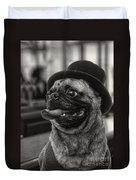 Last Call Pug Greeting Card Duvet Cover by Edward Fielding
