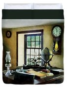 Lawyer - Globe Books And Lamps Duvet Cover by Susan Savad