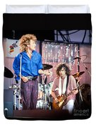 Led Zeppelin Page And Plant Live Aid 1985 Duvet Cover by Chuck Spang