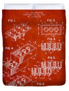 Lego Toy Building Brick Patent - Red Duvet Cover by Aged Pixel