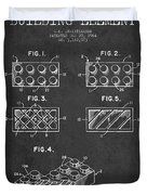 Lego Toy Building Element Patent - Dark Duvet Cover by Aged Pixel