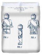 Lego Toy Figure Patent - Blue Ink Duvet Cover by Aged Pixel