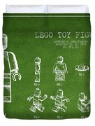 Lego toy Figure Patent Drawing from 1979 - Green Duvet Cover by Aged Pixel