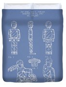 Lego Toy Figure Patent - Light Blue Duvet Cover by Aged Pixel