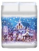 Let It Snow Duvet Cover by Mo T