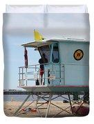 Lifeguard Shack At The Santa Cruz Beach Boardwalk California 5D23710 Duvet Cover by Wingsdomain Art and Photography