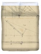 Lifting By Means Of Pulleys Of Beam With Extremity Fixed To Ground From Atlantic Codex Duvet Cover by Leonardo Da Vinci