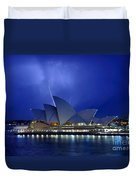 Lightning above The Opera House Duvet Cover by Kaye Menner