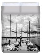 Lined Up At The Dock Duvet Cover by Kathy Liebrum Bailey
