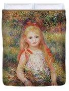 Little Girl Carrying Flowers Duvet Cover by Pierre Auguste Renoir