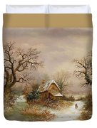 Little Red Riding Hood In The Snow Duvet Cover by Charles Leaver