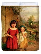 Little Villagers Duvet Cover by George Smith