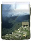Llama And Rainbow At Machu Picchu Duvet Cover by James Brunker